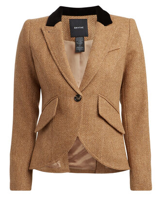 Velvet-Trimmed Herringbone Wool Blazer, GOLDEN HERRINGBONE, hi-res