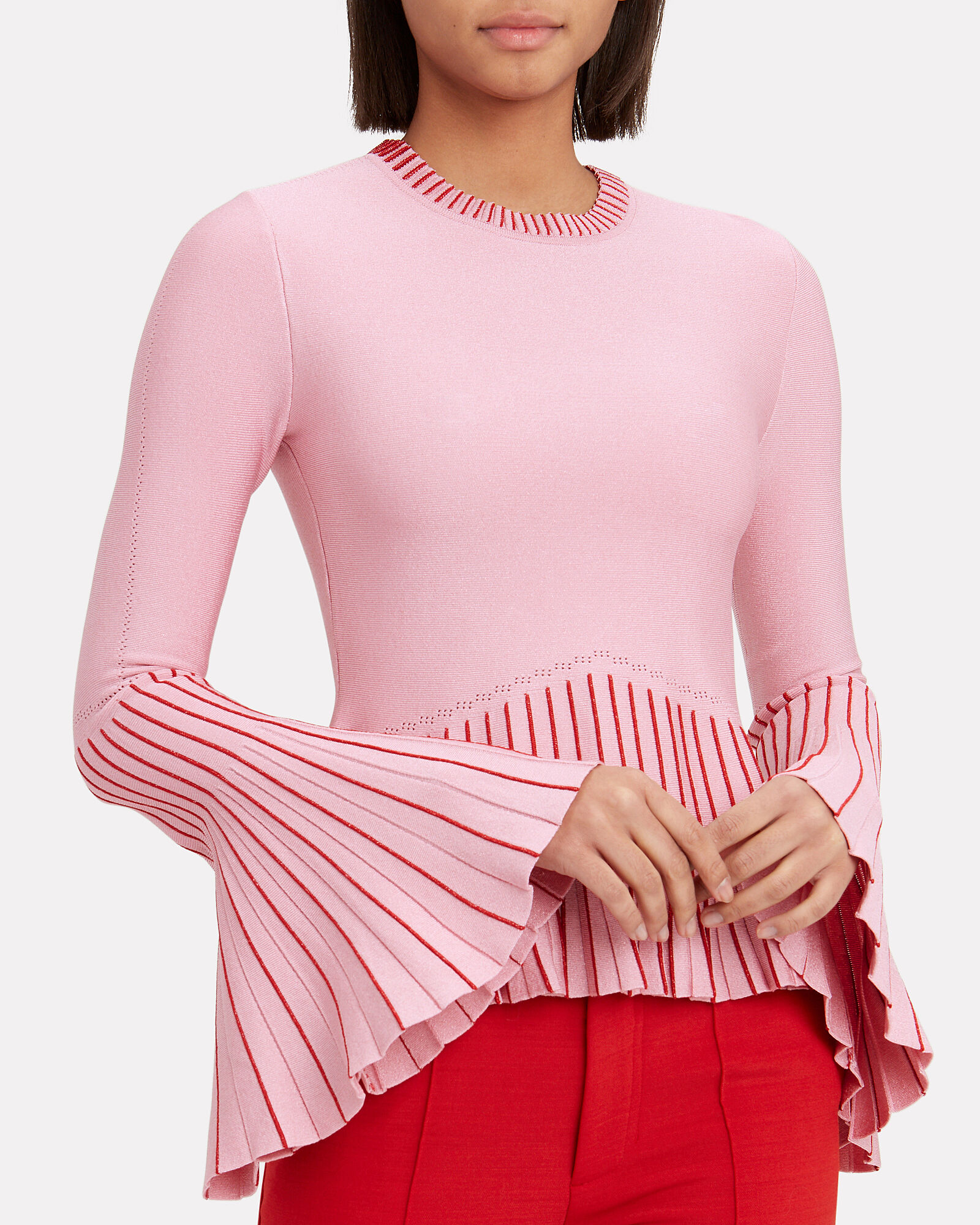 Pleated Trims Lurex Knit Top, RED, hi-res