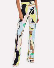 Vallauris Print Flared Trousers, PINK/ABSTRACT, hi-res