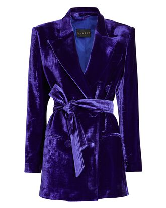 Belted Double-Breasted Velvet Blazer, PURPLE, hi-res