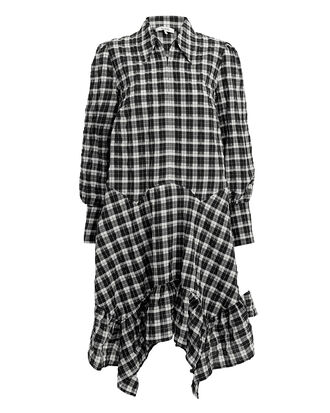 Seersucker Check Shirt Dress, BLACK/WHITE, hi-res