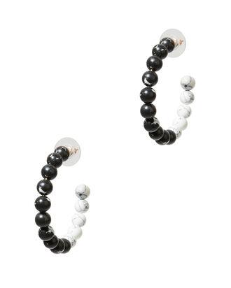 Stone Hoop Earrings, BLK/WHT, hi-res