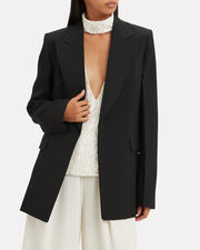 Peak Lapel Oversized Blazer, BLACK, hi-res