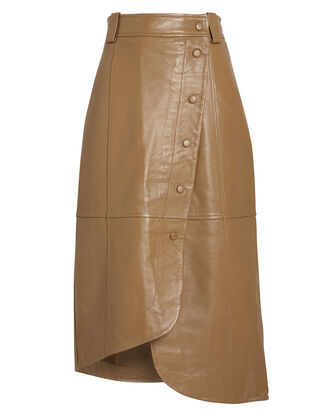 Lamb Leather Wrap Skirt, BEIGE, hi-res