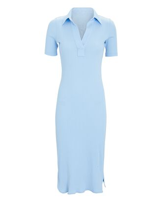 Double Rib Knit Polo Dress, LIGHT BLUE, hi-res