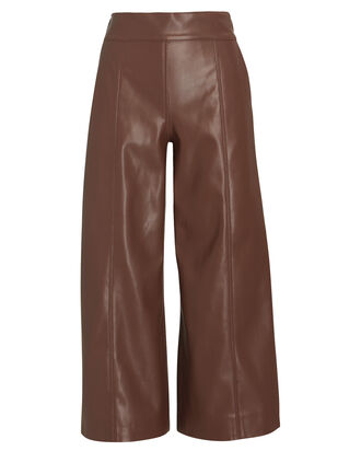 Frida Faux Leather Culottes, BROWN, hi-res