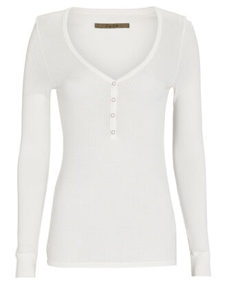 Rib Knit Henley Top, WHITE, hi-res
