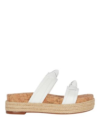 Clarita Leather Espadrille Slide Sandals, WHITE, hi-res