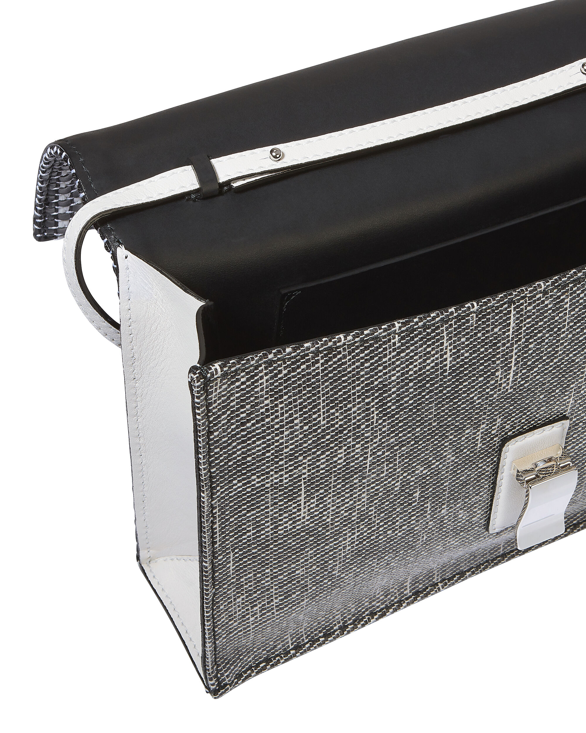 Mixed Woven Lunch Bag Clutch, WHITE, hi-res