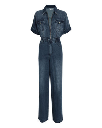 Denim Wide-Leg Flight Suit, LUDLOW, hi-res