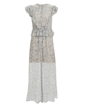 Tilda Ruffled Floral Silk Chiffon Dress, IVORY/FLORAL, hi-res