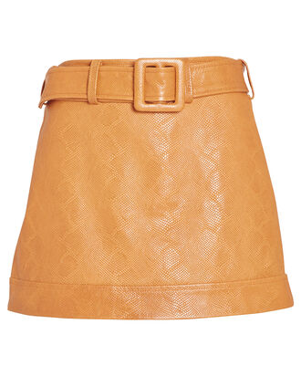 Tasia Snake-Embossed Leather Mini Skirt, CAMEL, hi-res