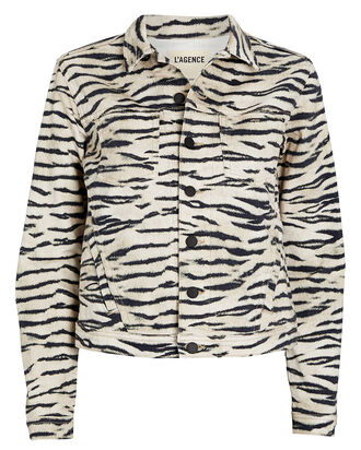 Celine Tiger Stripe Denim Jacket, MULTI, hi-res