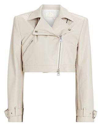 Cropped Vegan Leather Moto Jacket, IVORY, hi-res