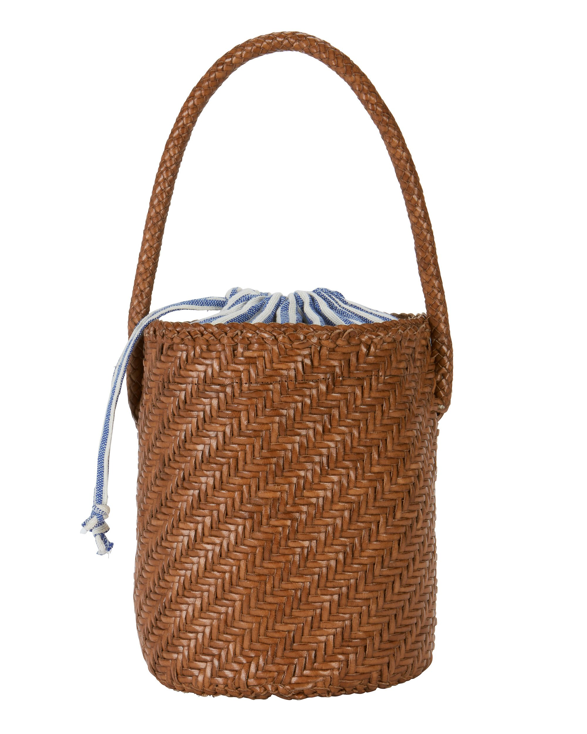 Cleo Woven Leather Bucket Bag - Brown, Tan