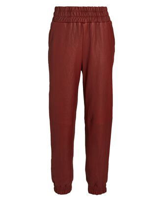 Wasia Cropped Leather Joggers, BURGUNDY, hi-res