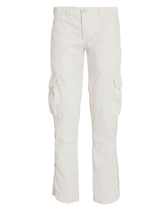 Basquiat White Cargo Pants, WHITE, hi-res