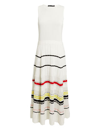 Striped Skirt Midi Dress, WHITE/STRIPE, hi-res