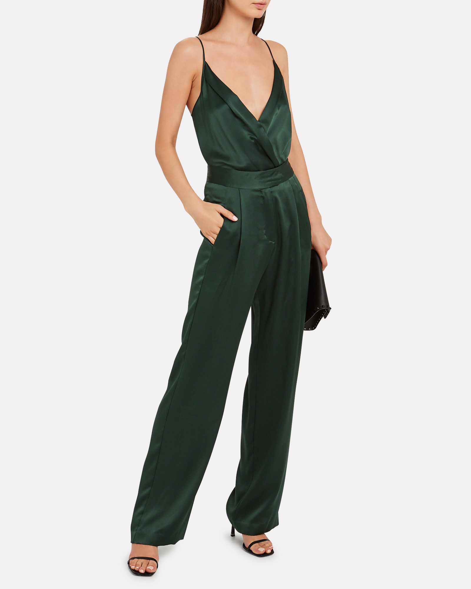Silk Charmeuse Wrap Bodysuit, FOREST GREEN, hi-res