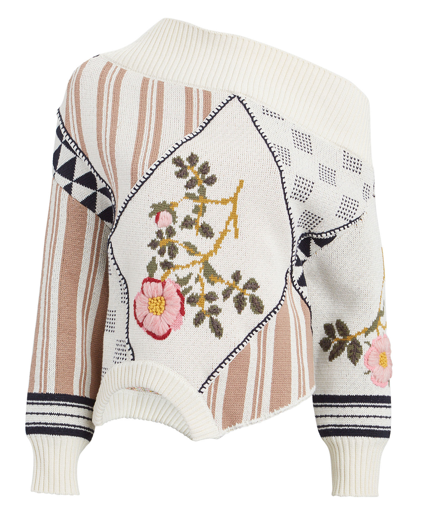 Embroidered Floral Asymmetrical Sweater, MAUVE/IVORY, hi-res