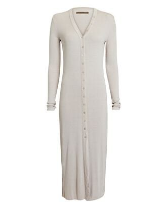 Silk Rib Knit Cardigan Midi Dress, BEIGE, hi-res
