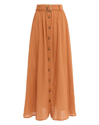 Belted Crinkle Skirt, BROWN, hi-res