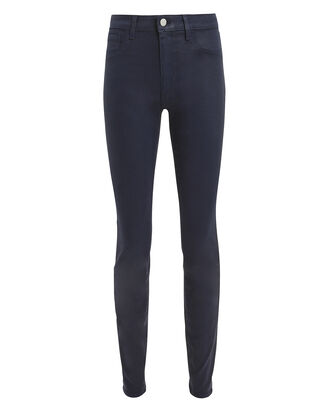 Marguerite Navy Coated High-Rise Skinny Jeans, NAVY, hi-res