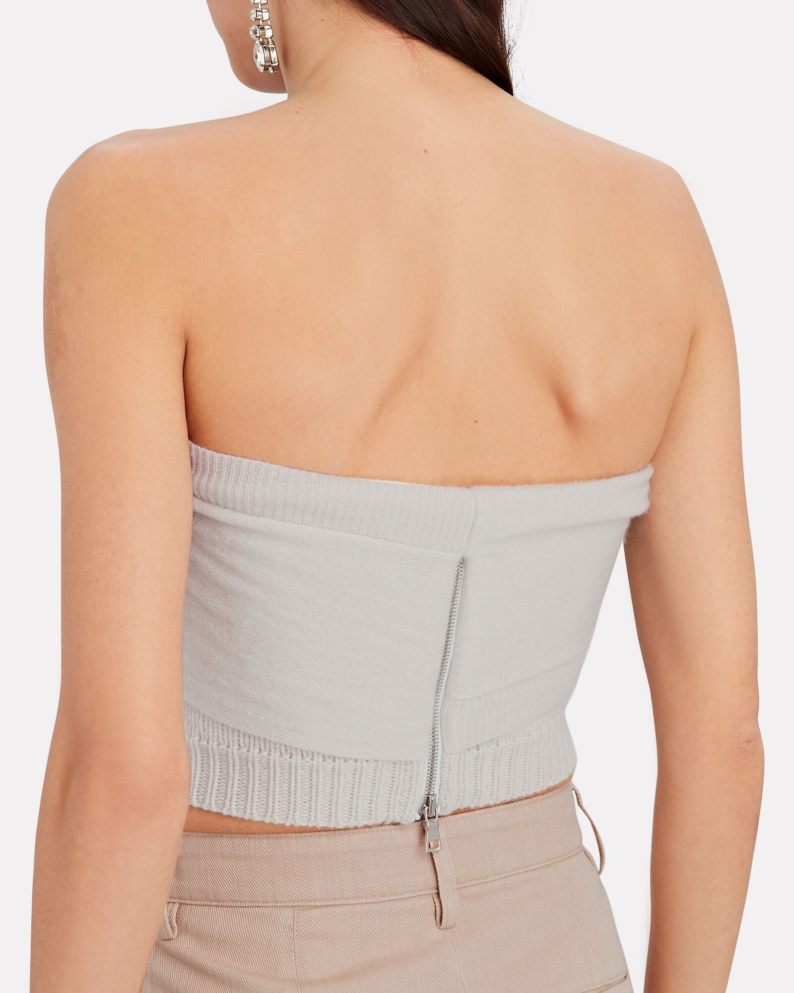 Aria Knit Cashmere Bustier Top, WHITE, hi-res