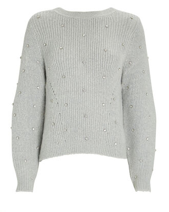 Diamante Crewneck Sweater, LIGHT GREY, hi-res