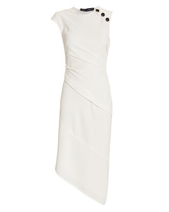 Button Detail Crepe Dress, WHITE, hi-res