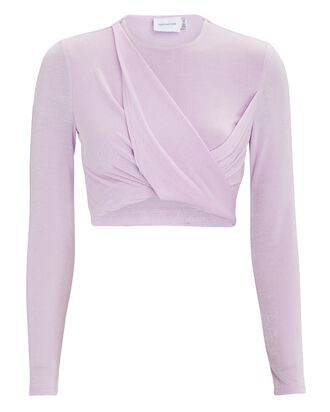Evelyn Twisted Knit Crop Top, LILAC, hi-res