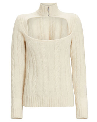Cable Knit Keyhole Alpaca Sweater, IVORY, hi-res