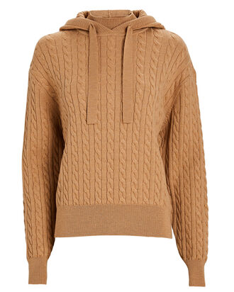 Nathalie Hooded Cable Knit Sweater, BEIGE, hi-res