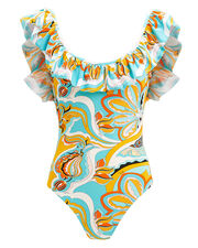 Ruffle One Piece Swimsuit, BLUE/PRINT, hi-res