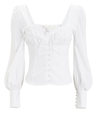Poplin Button Down Blouse, WHITE, hi-res