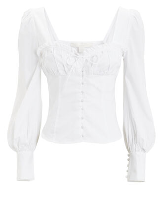 Poplin Corset Button Down Blouse, WHITE, hi-res
