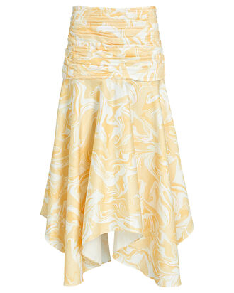 Andie Ruched Poplin Skirt, YELLOW/WHITE, hi-res
