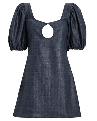 Mia Puff Sleeve Crepe Mini Dress, NAVY, hi-res