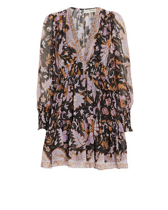 Rosetta Floral Silk Mini Dress, LIGHT PURPLE/CHARCOAL, hi-res