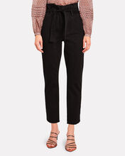 Belted Pleated Pegged Jeans, BLACK, hi-res