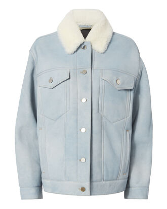 Oversized Shearling Denim Jacket, BLUE, hi-res
