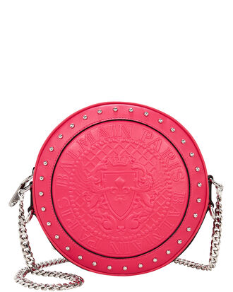 Disco Studded Circle Red Crossbody Bag, RED, hi-res