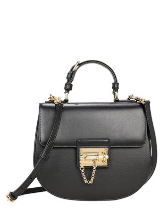 Small Black Leather Shoulder Bag, BLACK, hi-res