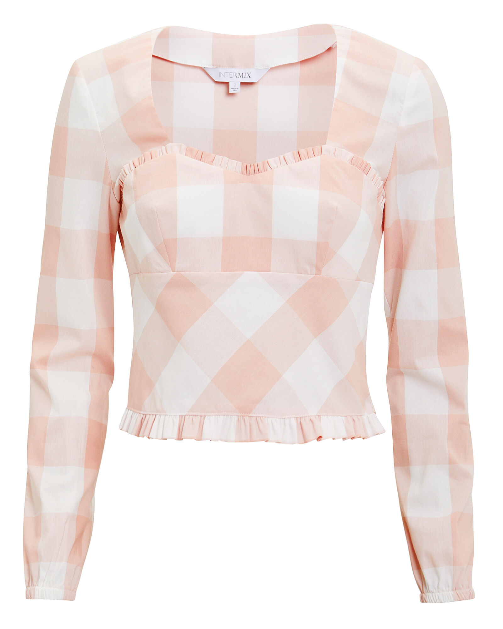 Stefania Gingham Top, PINK, hi-res