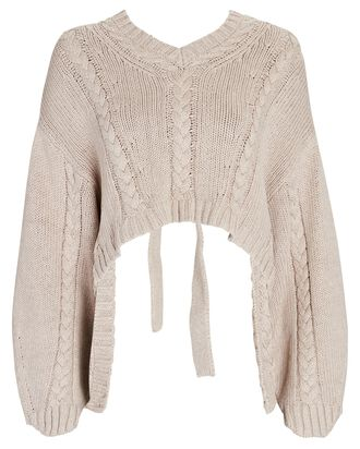 Bethany Open Back Cable Knit Sweater, BEIGE, hi-res
