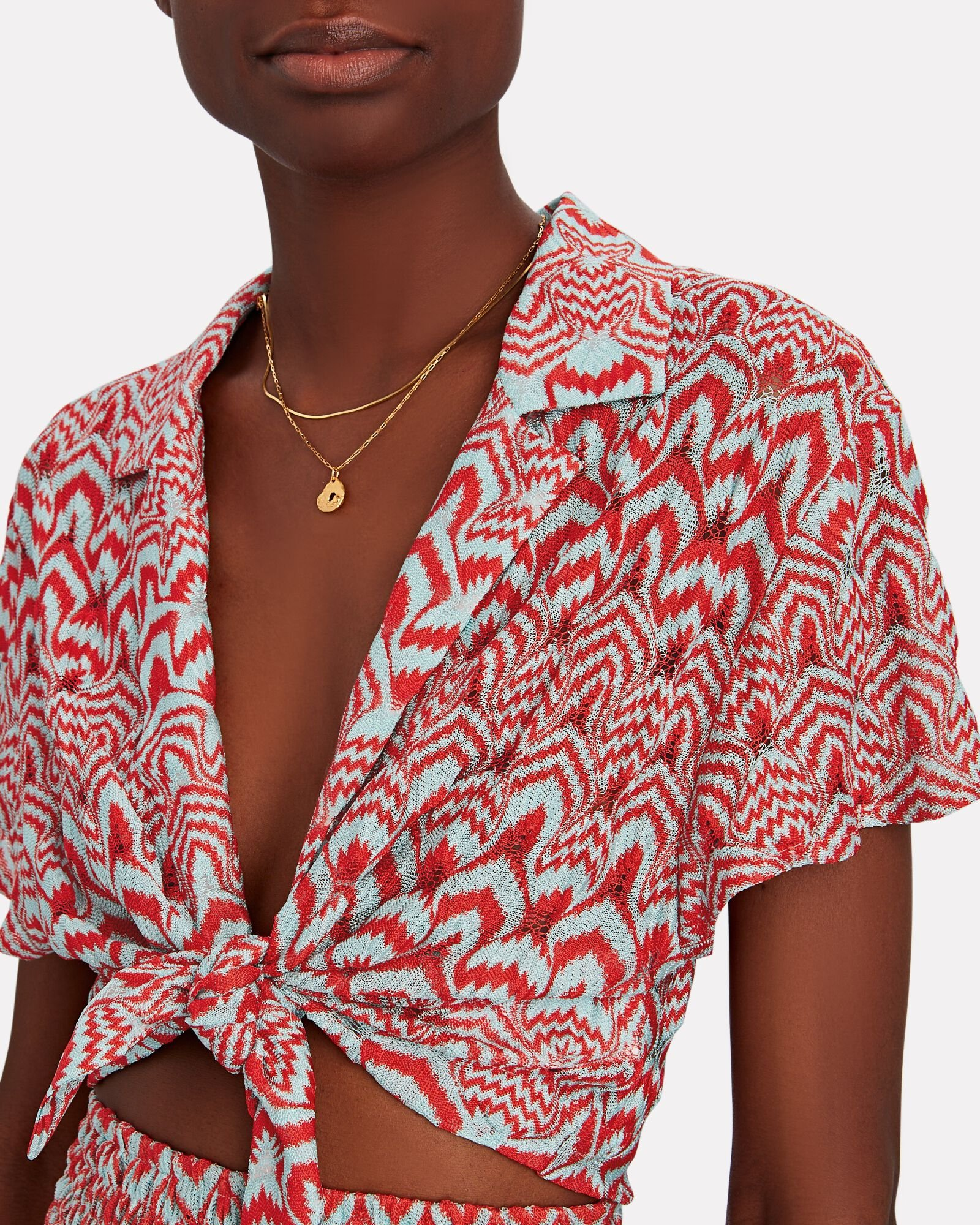 Knit Chevron Tie-Front Cropped Shirt, RED/BLUE, hi-res
