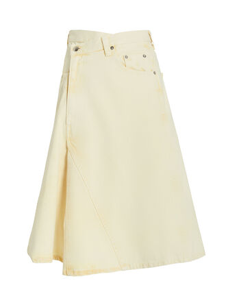 Asymmetrical Denim Midi Skirt, YELLOW/ACID WASH, hi-res