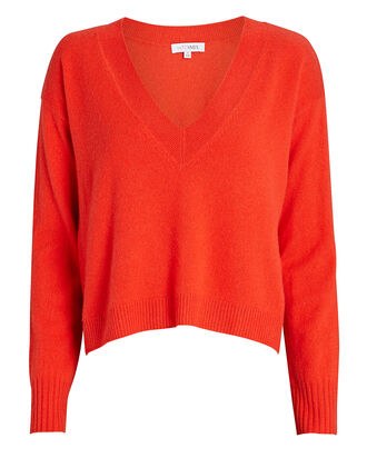 Elroy V-Neck Cashmere Sweater, ORANGE, hi-res
