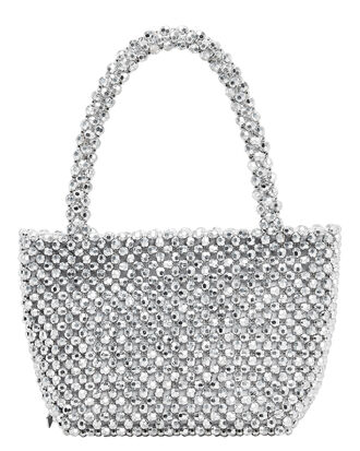 Mina Beaded Silver Bag, SILVER, hi-res