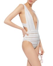 Barett Lace One Piece Swimsuit, WHITE, hi-res